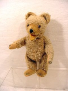 VINTAGE LIGHT GOLD TOY MOHAIR STRAW FILLED TEDDY BEAR W SQUEAKER NICE