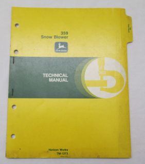 359 Snow Blower Technical Manual Horicon Works TM 1273 USA
