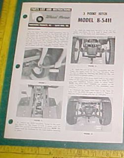 Wheel Horse Three Point Hitch 8 5411 Instruction Parts List 3