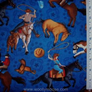 Ranch Cowboy Hat Horse Saddle Lasso SSI Blue Fabric 1 2 Yd