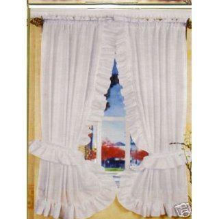 WHITE RUFFLED PRISCILLA FABRIC WINDOW CURTAIN Home