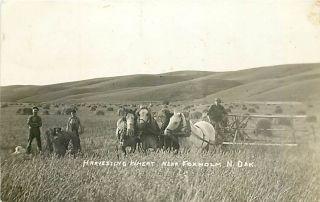 North Dakota RPPC Farmer Harvesting Wheat Horse Drawn Equipment