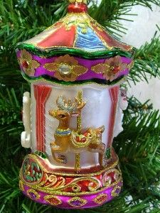 New Glass Merry Go Round Carousel Horse GOOSE Reindeer Christmas