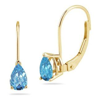 66 Ct Swiss Blue Topaz Stud Earrings in 14K Yellow Gold Jewelry