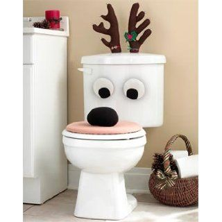 Christmas Holiday Reindeer Bathroom Toilet Seat Set Lid