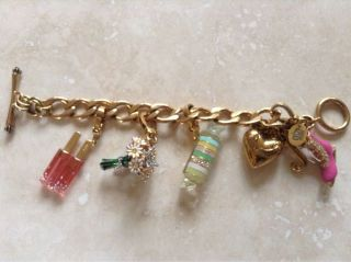 Juicy Couture Gold Charm Bracelet w Four Charms