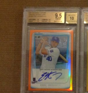 ERIC HOSMER BGS 9 5 10 2011 BOWMAN CHROME RC ORANGE REF AUTO 25 W 2 10