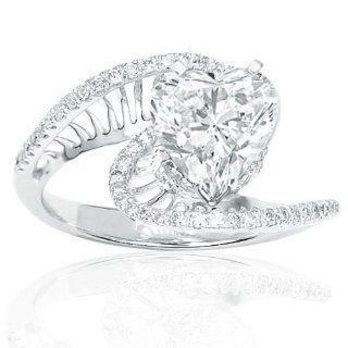 75 Carat Pave Set Round Diamonds Engagement Ring Jewelry
