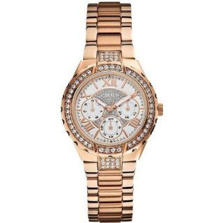 GUESS Womens U0111L3 Rose Gold Tone Sparkling Watch Watches