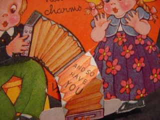 1940s Valentines Cute Kids Tricycle Accordion Hot Air Balloon