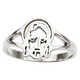 Size 07.00 Ladies 14K White Gold Face Of Jesus Chastity Ring Jewelry
