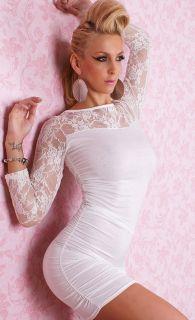 New hot Sexy women white lace Long sleeve mini Clubwear dress xs M