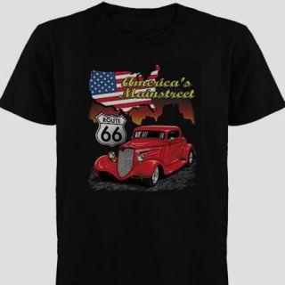 Hot Rod GearHead Americas Main St Route 66 Car T Shirt