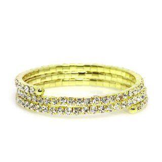 Rhinestone Wrap Around Bracelet ; Gold Tone Metal with Clear