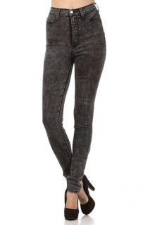 Waist Acid Mineral Wash Skinny Hot Trends Jean Pants Size 1 15