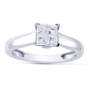 Womens 14k White Gold Engagement Ring (1/4 cttw I J Color, I1 I2