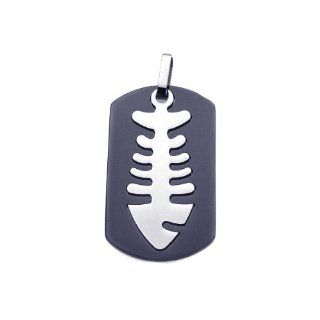 Stainless Steel Pendant Black Steel Dogtag With Fish Bone