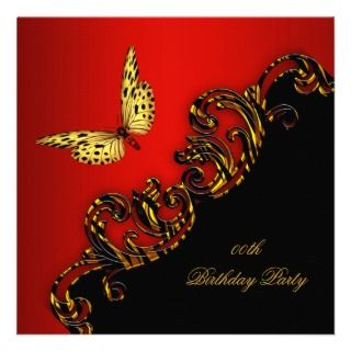 Exotic Red Gold Black Butterfly Birthday Party invitations by Zizzago