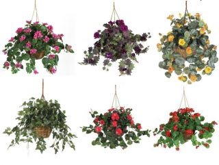Realistic Hanging Plants House Flower Arrangement Silk Fake Basket
