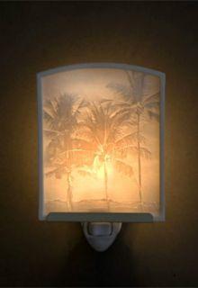 Hawaiian Theme Hawaiiana Tropical Porcelain Night Light ~ PALM TREES