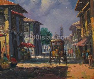 CITY 18x24 Philippine SPANISH HOUSES PINOY Art Oil Painting FREE SHIP
