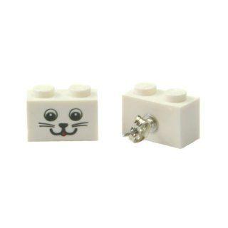 Kitty Cat Smiley Face LEGO Earrings Jewelry Jewelry