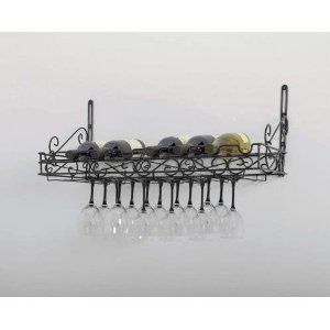 Concept Housewares Metal Wine Bottle and Glass Wall Rack Matte Black