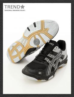 BN Asics Gel Rocket Volleyball Badminton Shoes Black Silver