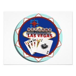 Blue Las Vegas Welcome Sign Poker Chip Custom Invitation