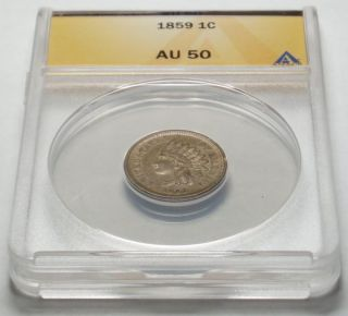 1859 Copper Nickel INDIAN CENT Graded ANACS AU50, 1st Indian Cent, ONE