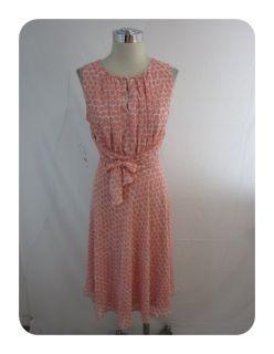 New Jessica Howard Berry Pink Polka Dot Tie Waist Chiffon Dress 12P $