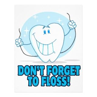 dont forget to floss flossing cartoon tooth flyer design