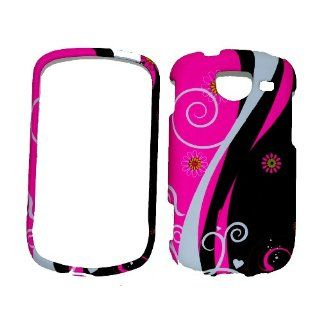 Black & Pink Swirl Design Rubberized Snap on Protective