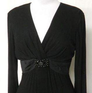 Jessica Howard Petite Size 8P Black Rayon Stretch Knit Dress Beaded
