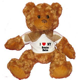 I Love/Heart Greater Swiss Plush Teddy Bear with WHITE T