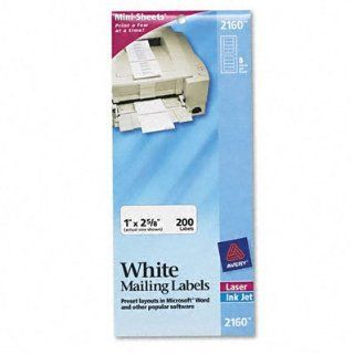 Avery 2160   Laser/Inkjet Mailing Labels, Mini Sheet, 1 x