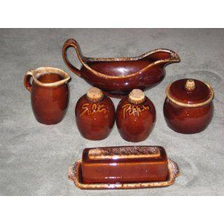 8 pc Hull Pottery Mirror Brown Drip   Salt & Pepper