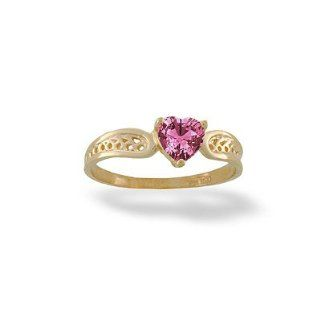 14K Yellow or White Gold Heart Pink Tourmaline Ring Size 7