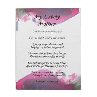 Mothers Poem Display Plaques