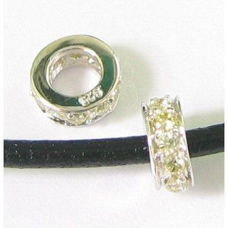 Sterling Silver Round Rondelle Jonquil Yellow Cz Crystal Bead Charm