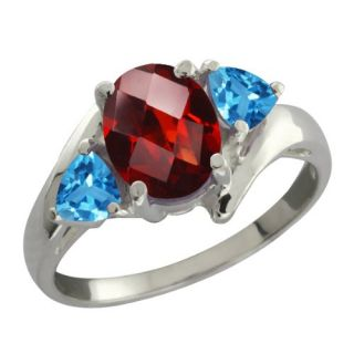 96 Ct Checkerboard Red Garnet and Swiss Blue Topaz Sterling Silver