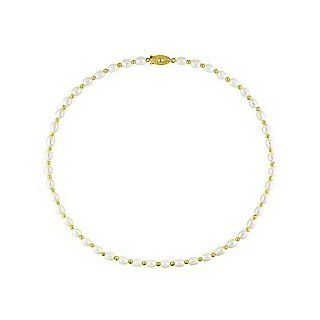 Gold Plated Freshwater White Pearl Necklace with Fish Eye Clasp (5 6mm