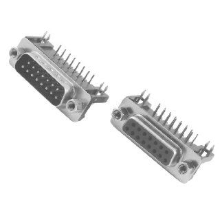 Gino DB15 15 Pin Male + Female Right Angle D sub PCB Mount