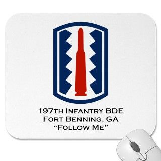 US Army 197th Infantry Brigade patch over Fort Benning, GA and Follow