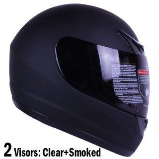 901 mattebk pl Matte Black Full Face Motorcycle Helmet DOT +2 Visor
