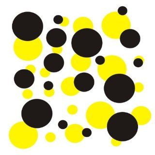 set of 106 Yellow and Black polka dots Vinyl wall