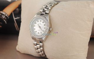 Dress Ladies Quartz Wrist Watch w Crystal Silver Steel Fashion Design