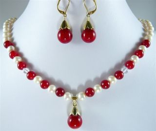PRETTY8MM Red Jade and White Pearl Necklace Earring Set