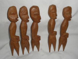 Hand Carved Wood Figural Primitive Style Forks Set of Five