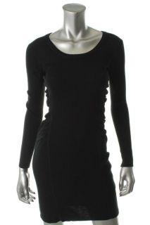 Calvin Klein New Black Ribbed Scoop Neck Long Sleeve Sweaterdress